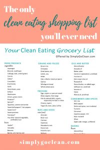 Clean eating food list - pdf pin1