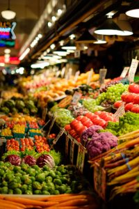Fresh produce aisle in supermarket